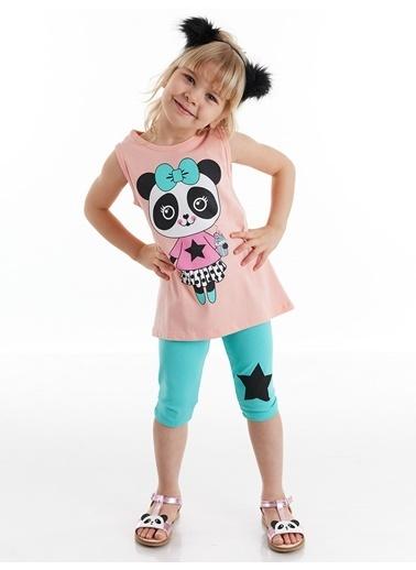 Denokids Panda Star Kız Tayt Takım Renkli